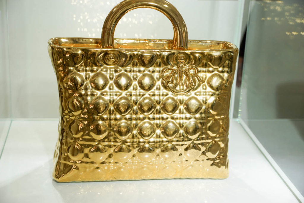 Artist: LIU Jianhu- Lady Dior Handbag 2009, Ceramic, Gold Paint.